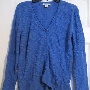 Liz Claiborne Blue Knit Sweater Vneck Cardigan XL